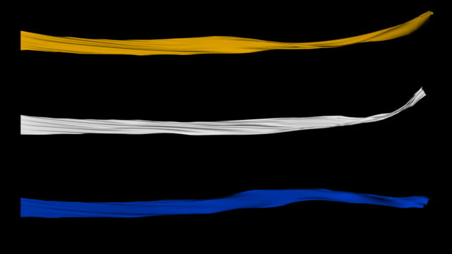 flagfx-thin gold,white and blue ribbons - ribbon stok videoları ve detay görüntü çekimi