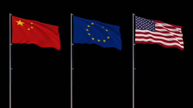 Flags China, EU, USA waving on transparent background, 4k footage with alpha channel