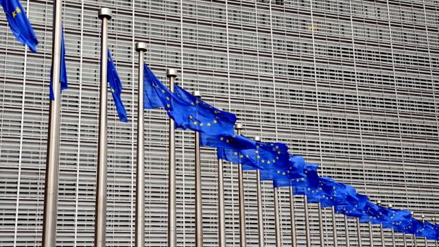 EU flags in Brussels near Berlaymont building video