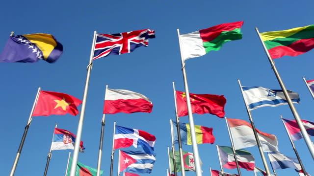 bandiere al vento - bandiera nazionale video stock e b–roll