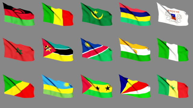 Flags of Africa (Part 3 of 4). Seamless Loop. Matte Channel African Flags waving on the wind. Seamless Loop and Matte Channel. (Part 3 of 4) senegal stock videos & royalty-free footage