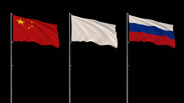 Flags of China, Russia and white flag waving on transparent background, 4k footage with alpha channel
