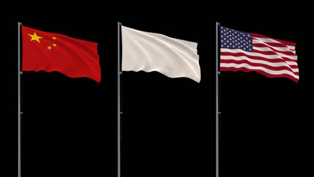 Flags of China, USA and white flag waving on transparent background, 4k footage with alpha channel