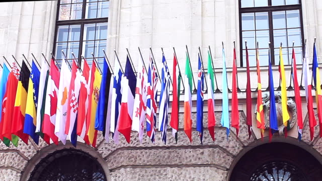 Flags of different countries of the international community, summit in Vienna. Flags of different countries of the international community, summit in Vienna. obedience stock videos & royalty-free footage