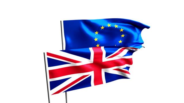 flaggen der im vereinigten königreich und der europäischen union. brexit-referendum. britische blätter eu. - europäische union stock-videos und b-roll-filmmaterial