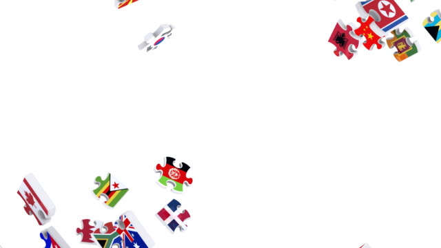 Flags of the World in Moving Puzzle Pieces (Loop) video
