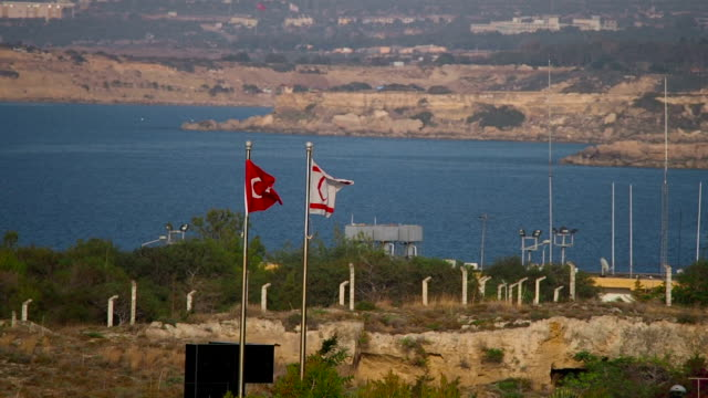 Flags of Turkey and Turkish Republic of Northern Cyprus, Famagusta, Cyprus video