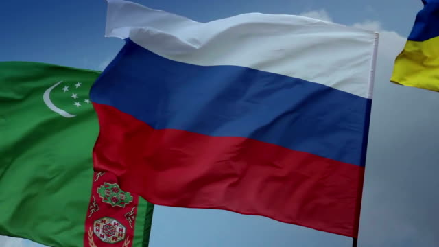 Flags Russia, Turkmenistan Ukraine. Gas, Customs Union, Soviet video