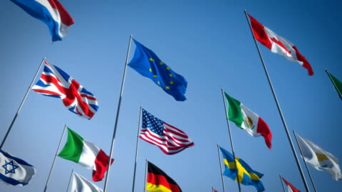 Flags Highly realistic 3D animation of flags created with a physically correct 3D software. global communications stock videos & royalty-free footage