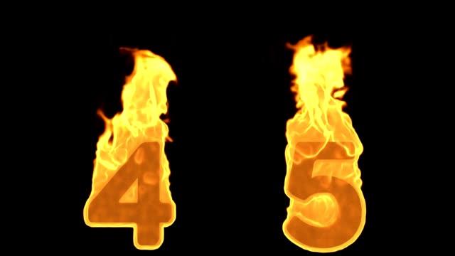 4 - 5. Yangın alfabe numaraları yanan alev video