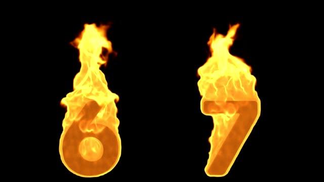 6 - 7. Yangın alfabe numaraları yanan alev video