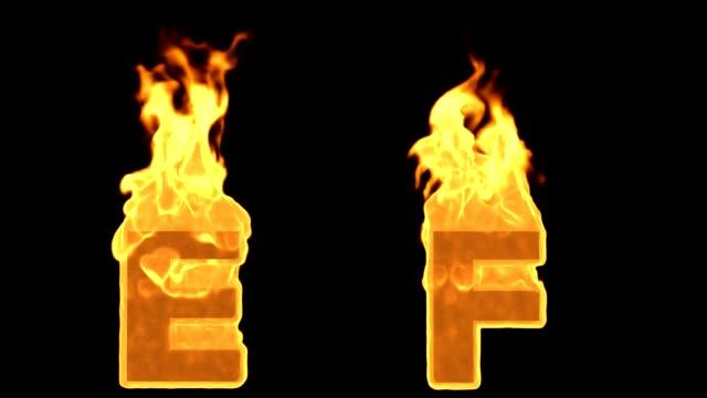 E - F. Alev yanan ateş alfabesi video