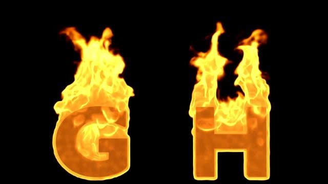 G - h yangın alfabe yanan alev video