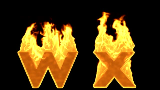 W - x yangın alfabe yanan alev video
