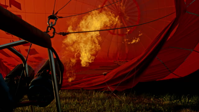 MS Flame inflating hot air balloon on ground