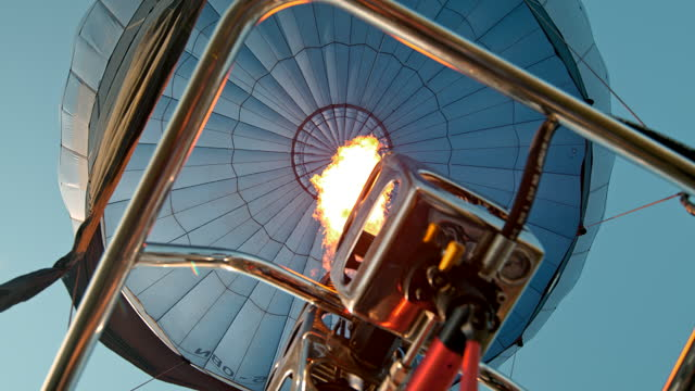 SUPER SLOW MOTION Flame inflating hot air balloon Super slow motion steadicam shot of a flame inflating hot air balloon at dusk. hot air balloon stock videos & royalty-free footage