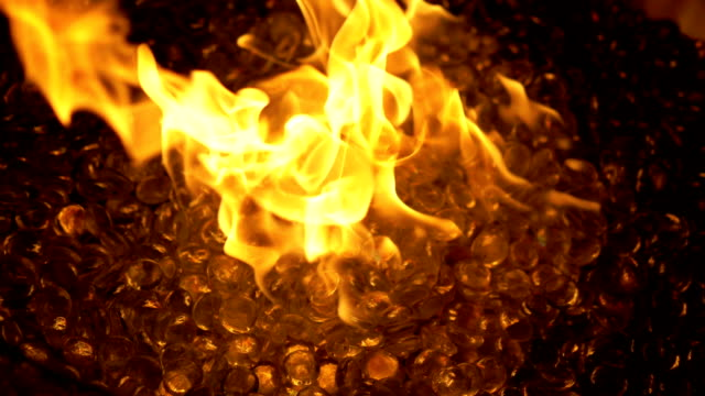 Flame Of Fire At Bonfire In The Dark in slow motion 180fps video