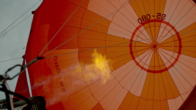 MS Flame rising and inflating hot air balloon Flame rising and inflating hot air balloon. MS,tilt up,slow motion. hot air balloon stock videos & royalty-free footage