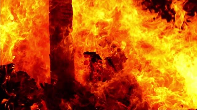 Flames of a bonfire.Slow Motion.