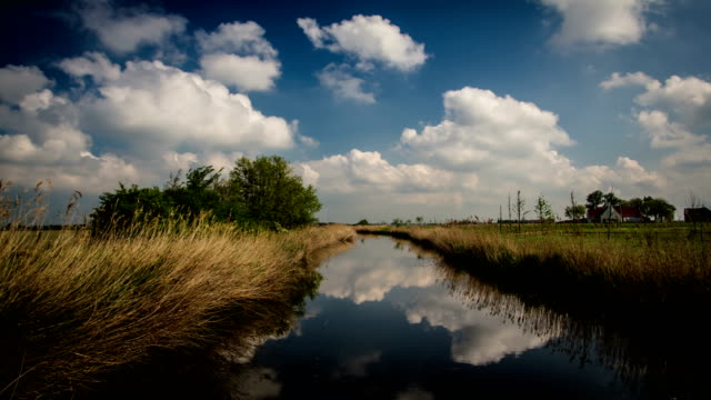 Flanders, Belgium, countryside springtime scenery : polder typical water canal time lapse video