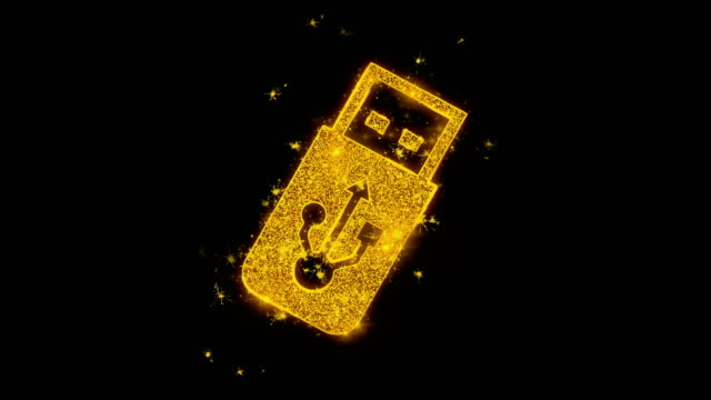 USB Flash Drive Icon Sparks Particles on Black Background.