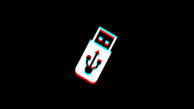 USB Flash Drive icon Vintage Twitched Bad Signal Animation.
