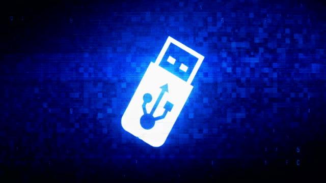 USB Flash Drive Symbol Digital Pixel Noise Error Animation.