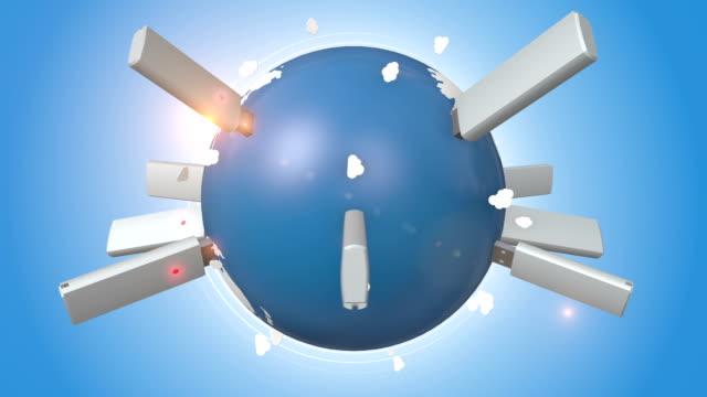usb フラッシュドライブに差し込むブルーのアース - 電化製品点の映像素材/bロール