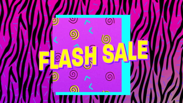 Flash sale graphic on pink and black zebra print background 4k