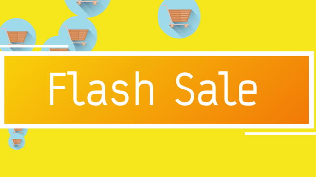 Flash sale text against shopping cart icons floating on yellow background