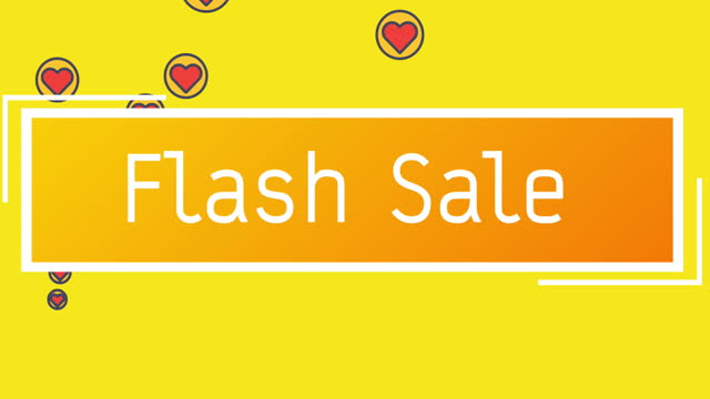 Flash Sale text on rectangle shape against red hearts icons on yellow background