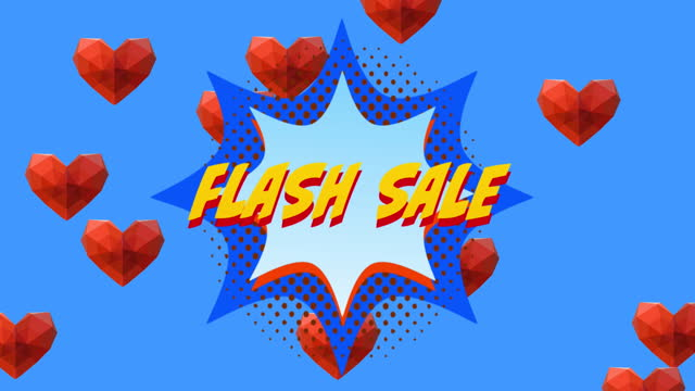 Flash Sale text on retro speech bubble against red hearts on blue background