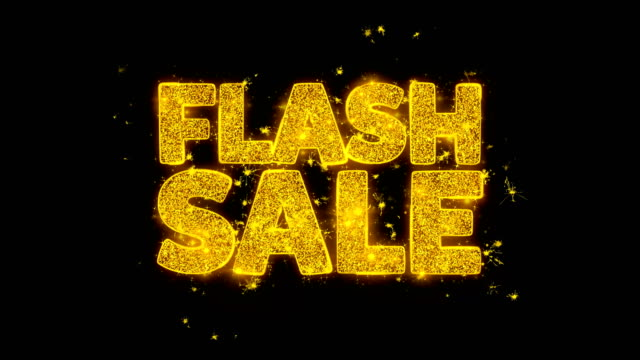 flash sale typography written with golden particles sparks fireworks - распродажа стоковые видео и кадры b-roll