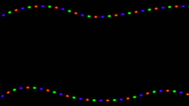 stockvideo's en b-roll-footage met knipperende lichten van kerstmis op zwarte achtergrond. 3d-rendering - touw