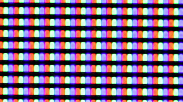 Flashing digital TV Screen Pixels Macro video