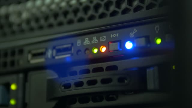 flashing green, blue and orange indicators of server operation