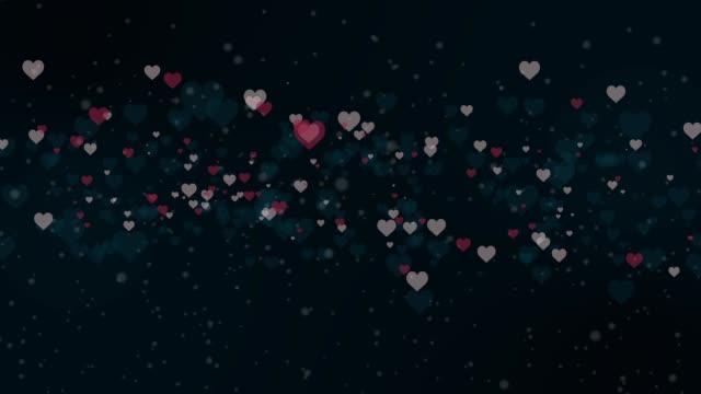 blinkende herzen auf schwarzem hintergrund. valentinstag-animation. - viele gegenstände stock-videos und b-roll-filmmaterial