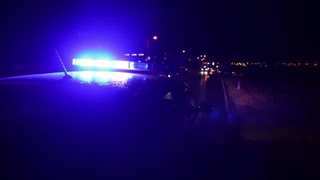 Flashing police car lights in night time