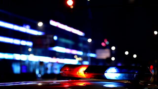 Flashing police car lights video