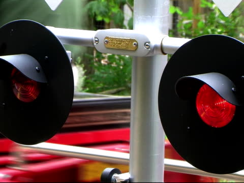 Flashing Railroad Signal with Train Passing video