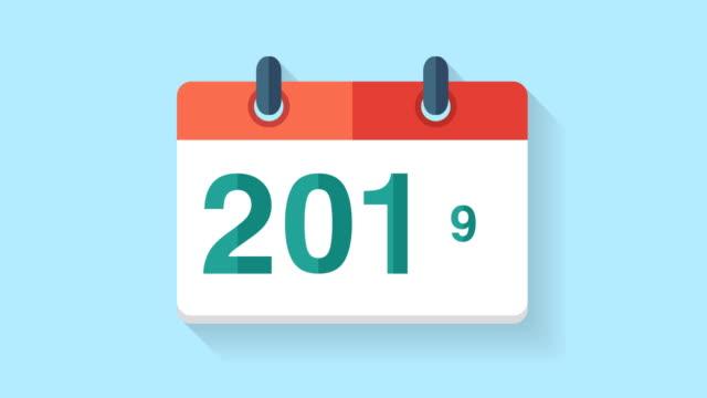 flache animation kalendersymbol 2019 - kalender icon stock-videos und b-roll-filmmaterial