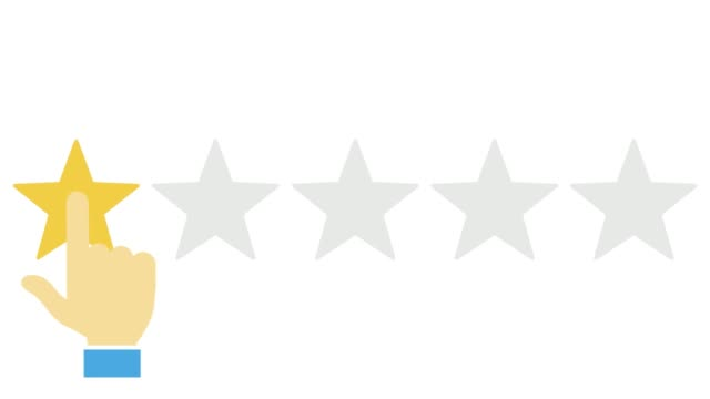 Flat animation of Online review, Customer giving review, Five Stars review, Hand pressing button, Feedback - conceptual animated video