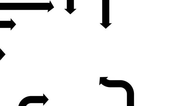 flat black arrows on a white background, cg animation - arrow filmów i materiałów b-roll