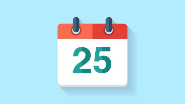 flache kalender symbol animation mit dem datum 25. - zahl 25 stock-videos und b-roll-filmmaterial