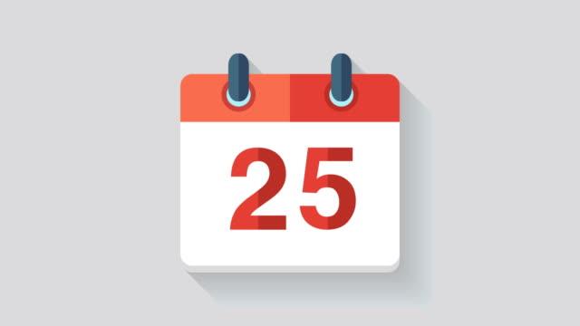 flache kalender symbol animation mit dem datum 25. - kalender icon stock-videos und b-roll-filmmaterial