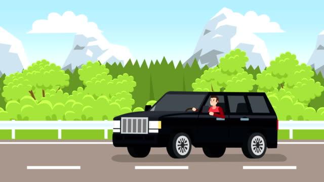 flache cartoon schwarz suv auto mit fahrer mann charakter fahren entlang alpinen waldstraße - drive illustration stock-videos und b-roll-filmmaterial