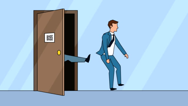 vídeos de stock e filmes b-roll de flat cartoon businessman character angry boss kicks the door business concept animation - ser despedido