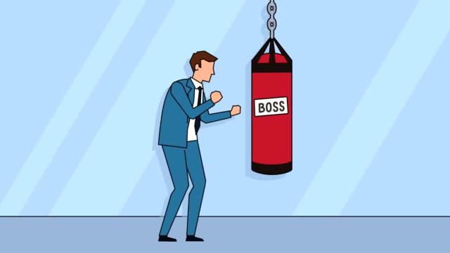 flat cartoon businessman character boxing with boss punching bag animation - sacco per il pugilato video stock e b–roll