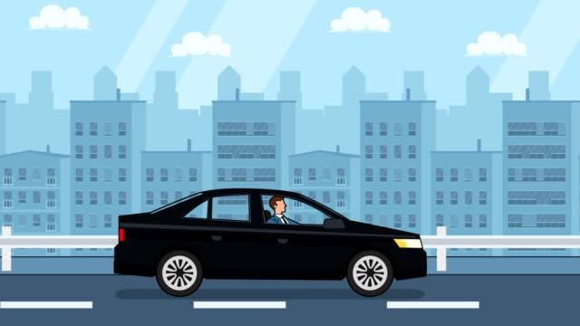wohnung cartoon geschäftsmann charakter fahren schwarze auto fahrten um die stadt seite ansicht - drive illustration stock-videos und b-roll-filmmaterial