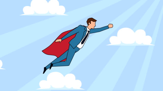 Flat cartoon businessman character flying superhero with red cloak success concept animation